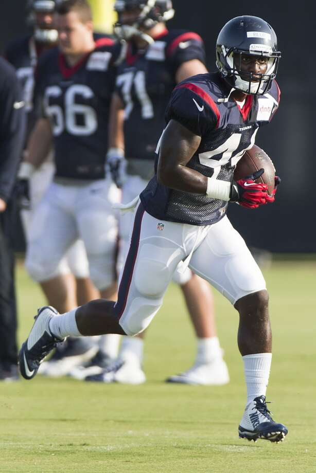 Running back Alfred Blue In his first appearance with the Texans, the sixth-round pick averaged 6 yards a carry – the same average he compiled at LSU. As the first back off the bench at Arizona, he ran for 30 yards on five carries. He caught two passes for 14 yards and dropped one. At 6-2, 223, he's got good size and speed. He's improved since he arrived for the offseason program. He's very smooth, very fluid. He looks like a natural runner, showing some instincts. He wants to get better. He has to improve pass protection. He can be productive as a receiver out of the backfield if they need to use him in that capacity. Photo: Brett Coomer, Houston Chronicle