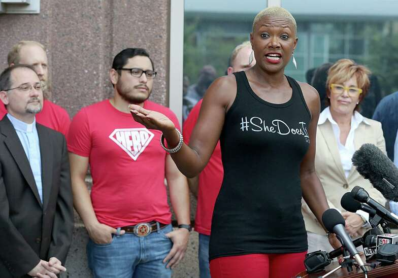 Former city councilor Jolanda Jones speaks about Equal Rights Ordinance on August 15, 2014 at 201 Caroline St. in Houston, TX.