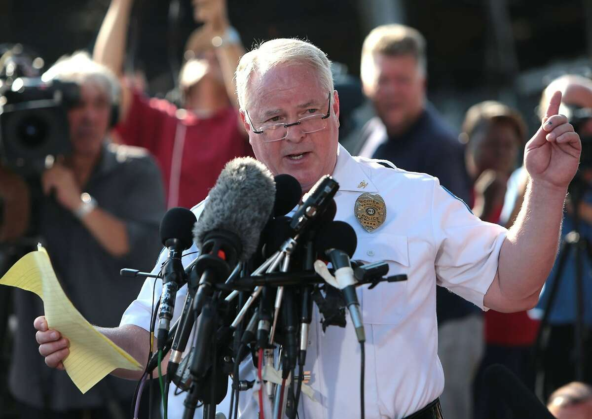 Ferguson Police Chief Thomas Jackson Ferguson police ID officer Darren Wilson as shooter of Michael Brown to a crowd of reporters and citizens on Friday, Aug. 15, 2014, at the burned QuickTrip located on W. Florissant in Ferguson, Mo. (Laurie Skrivan/St. Louis Post-Dispatch/MCT)