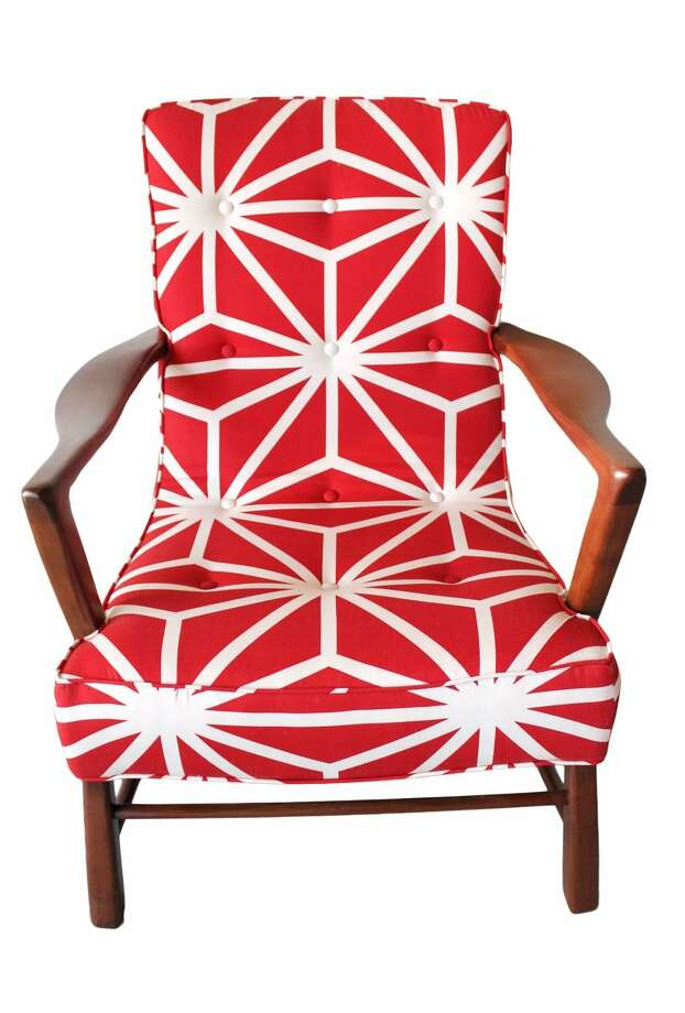 Delightful Furniture Upholstery San Antonio #9: A New Seat And Bright Fabric Bring The Burst Chair To Life. Reupholstering Is A