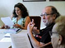 """Barry Schaffer, 66, of South Salem, N.Y., participates in a writing class Tuesday. Left is Cheryl Panosian Haddad, 52, of Danbury, the classes teacher. Seniors in Ridgefield, Conn., take a course called """"The Art of Writing"""" at Founders Hall in Ridgefield, Conn., Tuesday, August 12, 2014."""