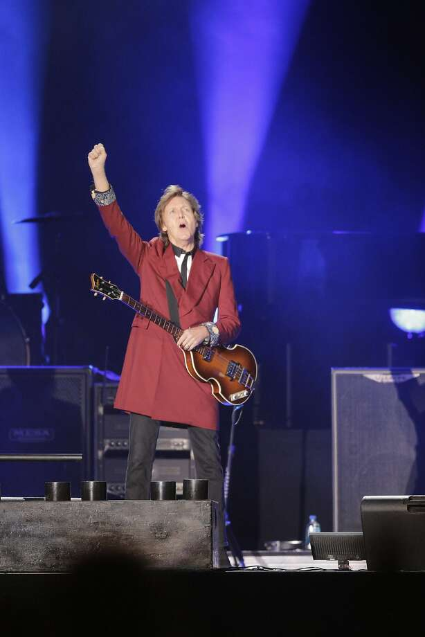 Paul McCartney greets the audience at the start  of his farewell Candlestick Park show on Thursday. Photo: Mike Kepka