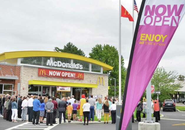 A crowd gathers for the grand re-opening of the Wolf Road McDonald's Friday August 15, 2014, in Colonie, NY.  (John Carl D'Annibale / Times Union) Photo: John Carl D'Annibale / 00028126A