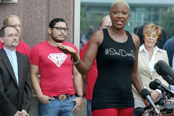 Former City Councilwoman Jolanda Jones speaks at a rally supporting Houston's  Equal Rights Ordinance held Friday on Caroline Street.