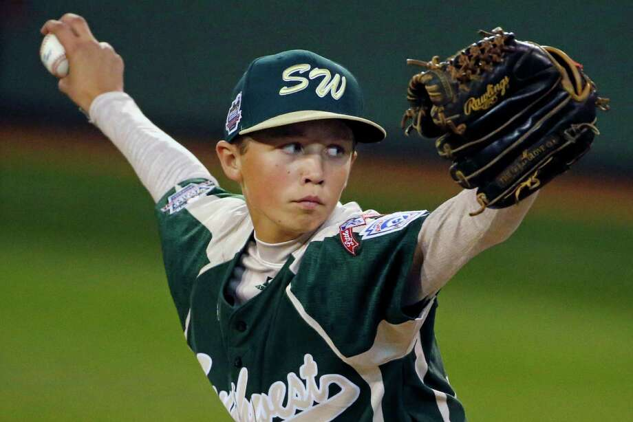 Pearland pitcher Matthew Adams delivers during the first inning against Cumberland in a baseball game in United States pool play at the Little League World Series tournament in South Williamsport, Pa., Friday, Aug. 15, 2014. (AP Photo/Gene J. Puskar) Photo: Gene J. Puskar, Associated Press / AP