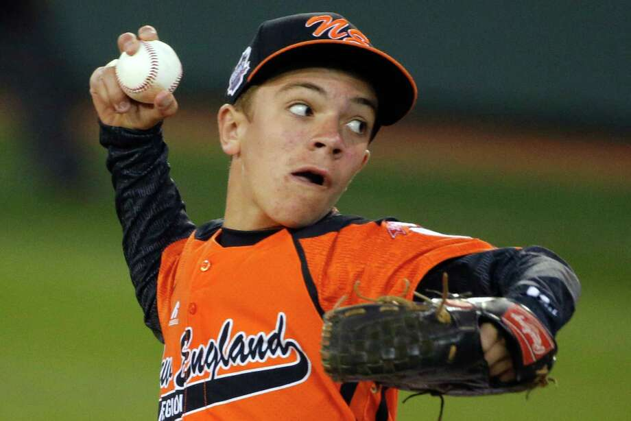 Cumberland pitcher Nick Croteau delivers during the first inning of a baseball game against Pearland in United States pool play at the Little League World Series tournament in South Williamsport, Pa., Friday, Aug. 15, 2014. (AP Photo/Gene J. Puskar) Photo: Gene J. Puskar, Associated Press / AP