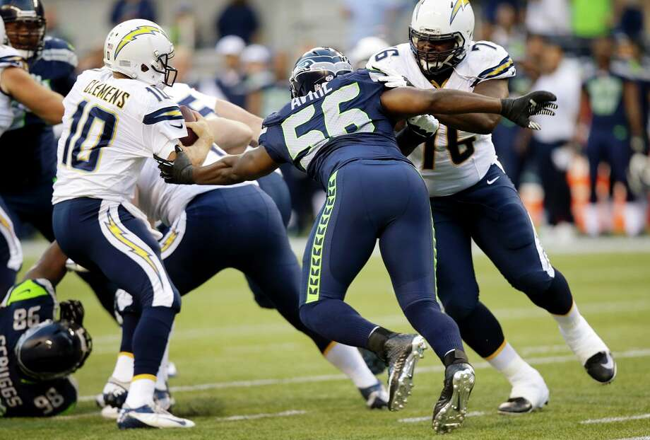 DE Cliff AvrilSchofield wasn't the only standout on the edge; Cliff Avril looked like a superstar early   in the game, causing countless rushed passes before Pete Carroll gave the Bolts some room to   breathe by resting his starting left end. After tying for the lead last year with eight sacks,   Avril looks able to surpass that number in 2014. He was all but unstoppable Friday, and was as   exciting to watch as anyone on the field. Pair him with Michael Bennett -- who didn't play   against the Chargers -- and mix in Schofield and Bruce Irvin, and the Seahawks' pass-rush   could be downright frightening this season.— Nick Eaton Photo: Stephen Brashear, Associated Press