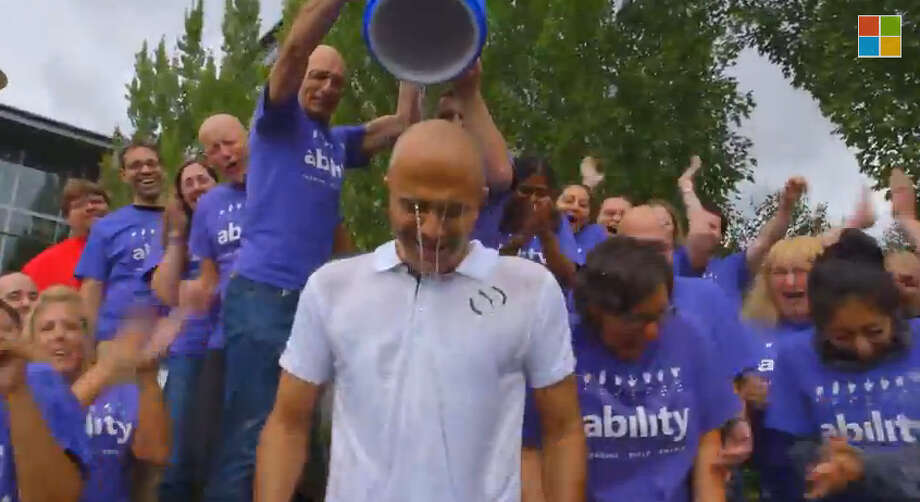 Microsoft CEO Satya Nadella Takes the ALS Ice Bucket Challenge Photo: YouTube