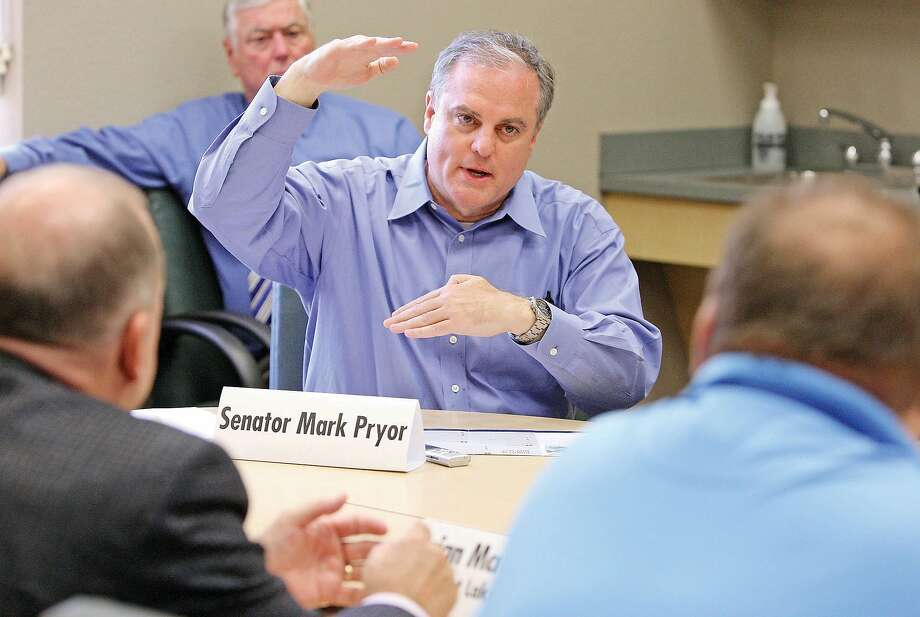 "U.S. Senator Mark Pryor speaks with industry leaders from Union County about his ""American-Made Strong"" jobs legislation that will help bring back American jobs from overseas during a manufacturing round-table in El Dorado, Arkansas, Friday, Aug. 15, 2014, at South Arkansas Community College's East Campus, Center for Workforce Development. Pryor was visiting the southern part of Arkansas promoting how he plans to strengthen America's economy. (AP Photo/The El Dorado News-Times, Michael Orrell) Photo: Michael Orrell, Associated Press"