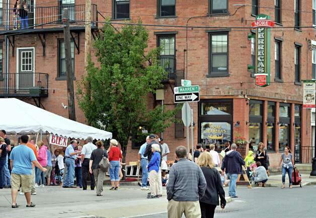 Crowds arrive for Perreca's Bakery's 100th Birthday Block Party Saturday August 16, 2014, in Schenectady, NY.   (John Carl D'Annibale / Times Union) Photo: John Carl D'Annibale / 00028170A