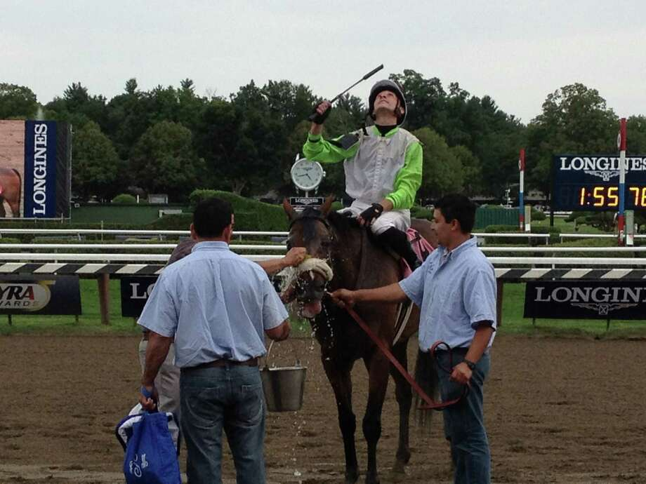 After you win a race, life is good. It's good for jockey Joe Rocco Jr. And it's good for a 6-year-old gelding named Cozy Kitten, who won the seventh race at the Spa on Saturday afternoon. Here, Rocco shows some emotion while Cozy Kitten gets some water before heading into the winner's circle. It was the first win for the horse, in his third try of the meet. (Tim Wilkin / Times Union)