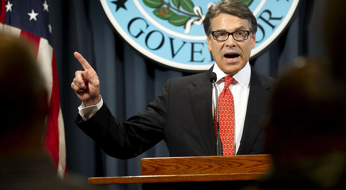 Gov. Rick Perry makes a statement in Austin, Texas on Saturday, Aug. 16, 2014 concerning the indictment on charges of coercion of a public servant and abuse of his official capacity. Perry is the first Texas governor since 1917 to be indicted.