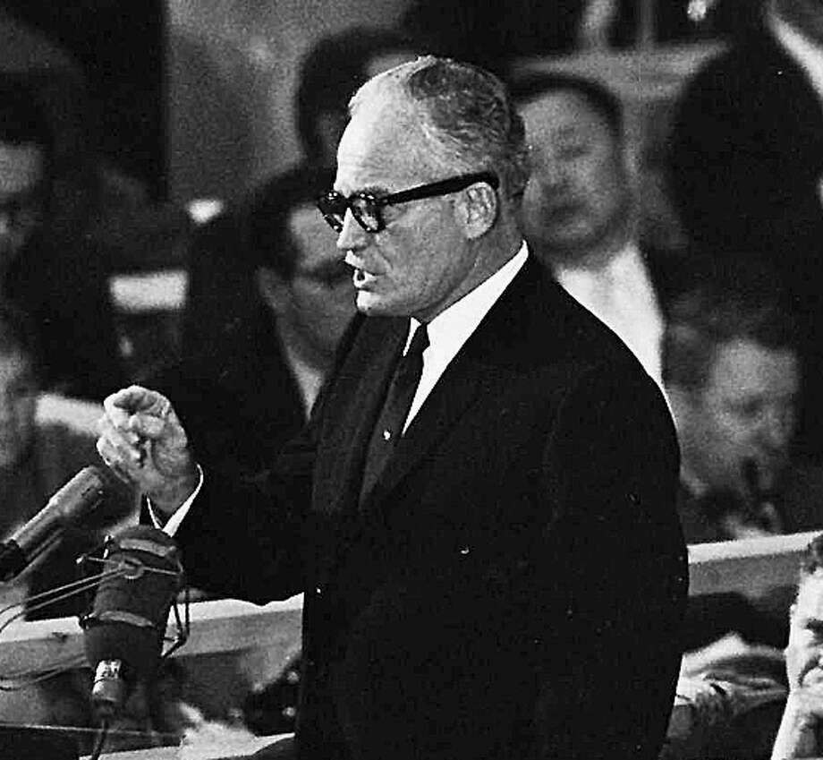 FILE--Sen. Barry Goldwater accepts the Republican presidential nomination in San Francisco in this July 16, 1964 file photo. Goldwater, the outspoken conservative Republican who served 30 years in the Senate and ran unsuccessfully for president in 1964, is near death, The Mesa (Ariz.) Tribune reported Wednesday, May 27, 1998.  The 89-year-old Goldwater has been in declining health for months, the newspaper said, citing sources close to the family. (AP Photo) Photo: Associated Press / AP
