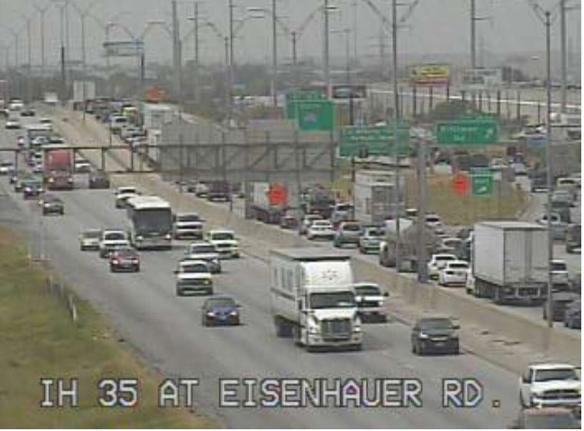 FILE PHOTO --- Traffic at Eisenhauer Road and Interstate 35 southbound on Sunday, Aug. 17, 2014.