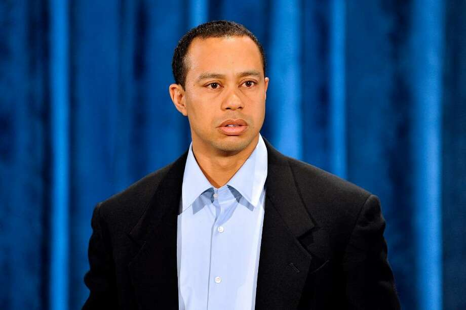 "PONTE VEDRA BEACH, FL - FEBRUARY 19:  Tiger Woods makes a statement from the Sunset Room on the second floor of the TPC Sawgrass, home of the PGA Tour on February 19, 2010 in Ponte Vedra Beach, Florida. Woods publicly admitted to cheating on his wife Elin Nordegren but maintained that the issues remain ""a matter between a husband and a wife.""  (Photo by Lori Moffett-Pool/Getty Images) *** Local Caption *** Tiger Woods Photo: Pool, Getty Images / 2010 Getty Images"