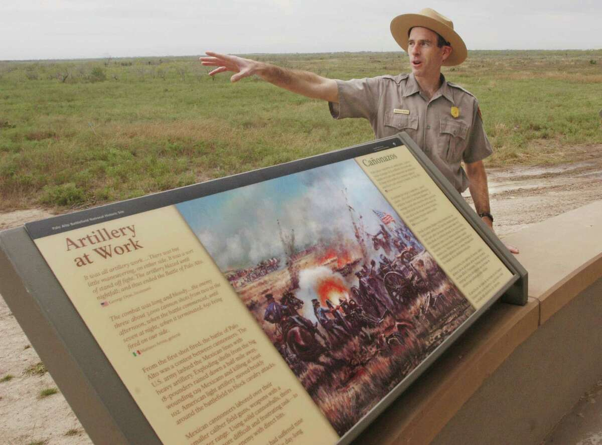Douglas Murphy points to the battlefield where the first major conflict of the U.S.-Mexican War began on May 8, 1846, at the Palo Alto Battlefield National Historical Park in Brownsville.