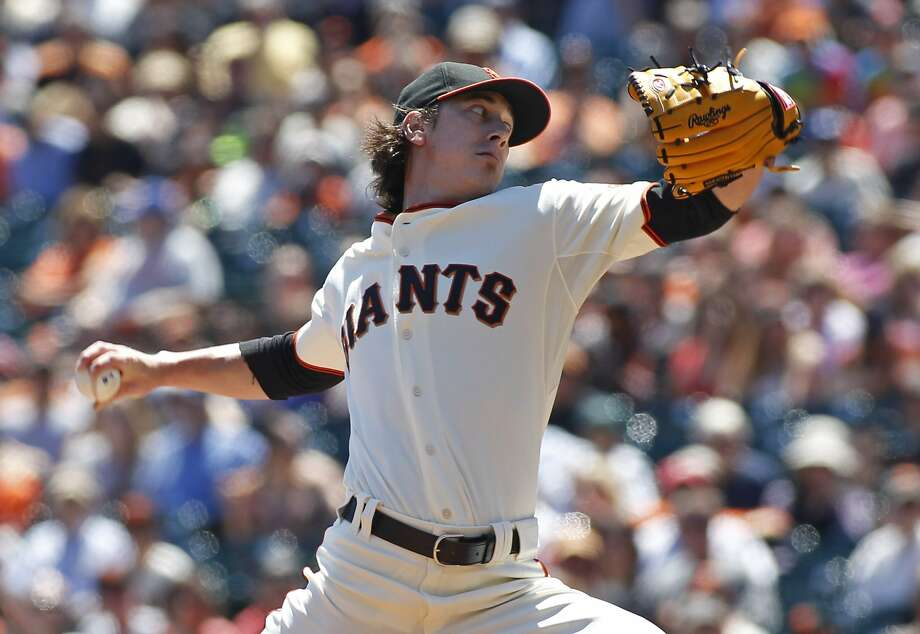 San Francisco Giants pitcher Tim Lincecum throws to the Philadelphia Phillies during the first inning of a baseball game, Sunday, Aug. 17, 2014, in San Francisco. (AP Photo/George Nikitin) Photo: George Nikitin, Associated Press