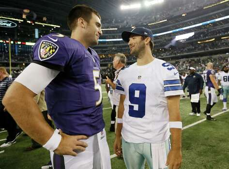 4258 x 3148~~$~~Baltimore Ravens quarterback Joe Flacco (5) and Dallas Cowboys quarterback Tony Romo (9) talk after an NFL preseason football game Saturday, Aug. 16, 2014, in Arlington, Texas. The Ravens won 37-30. Photo: Brandon Wade, AP / FR168019 AP