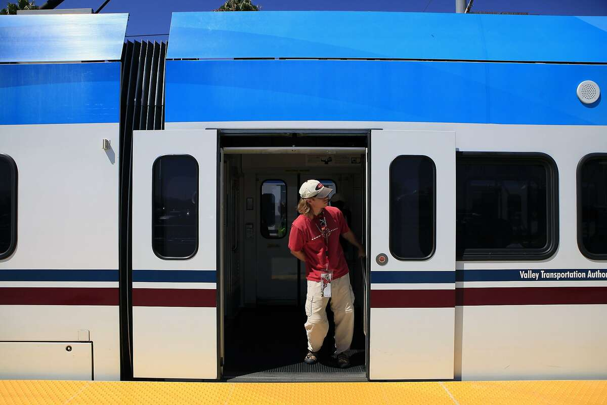 49er's fans board a VTA light rail train as they leave Levi's Stadium during halftime of the first preseason football game between the San Francisco 49ers and the Denver Broncos in Santa Clara, CA, Sunday, August 17, 2014.