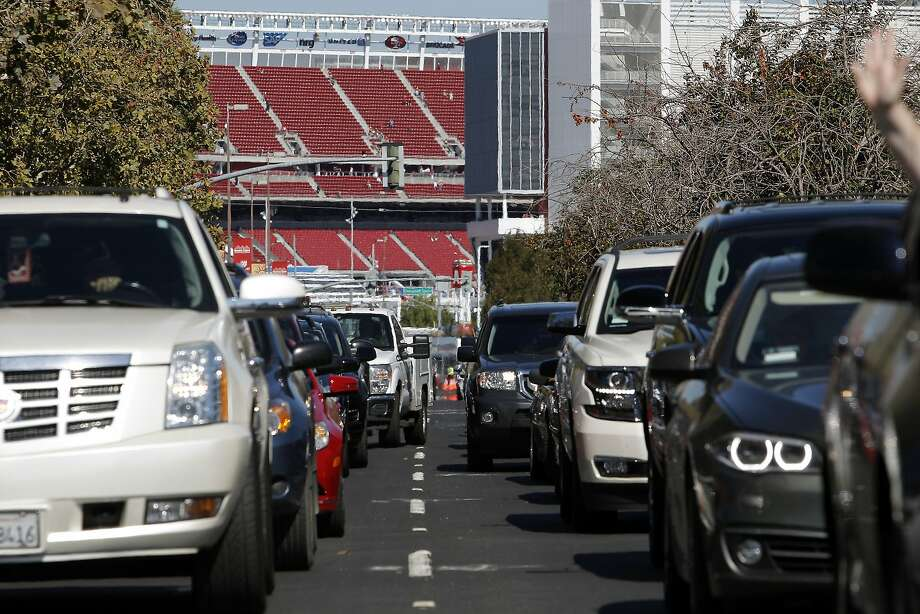 File photo - Traffic begins to back up on Tasman Dr. as fans leave Levi's Stadium following the first preseason football game between the San Francisco 49ers and the Denver Broncos in Santa Clara, CA, Sunday, August 17, 2014. Photo: Michael Short, The Chronicle