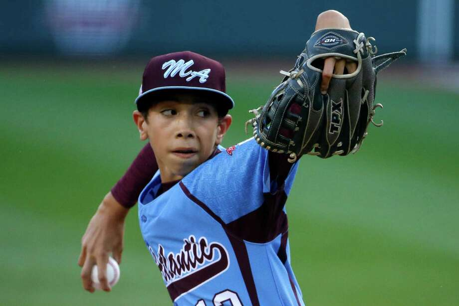 Philadelphia pitcher Jared Sprague-Lott delivers during the first inning of a baseball game against Pearland at the Little League World Series tournament in South Williamsport, Pa., Sunday, Aug. 17, 2014. (AP Photo/Gene J. Puskar Photo: Gene J. Puskar, Associated Press / AP