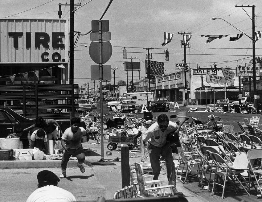 April 27, 1979: Two people were killed and 51 injured when Ira Attebury opened fire from inside his mobile home on a festive crowd gathered to watch the Battle of Flowers Parade at the intersection of Broadway and East Grayson streets. Attebury was armed with a shotgun and had the street drug PCP in his system. He was later found dead of a gunshot wound inside the mobile home.