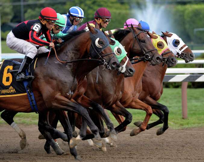 The field leaves the gate in unison during 2nd running of The Alydar Sunday afternoon at the Sara