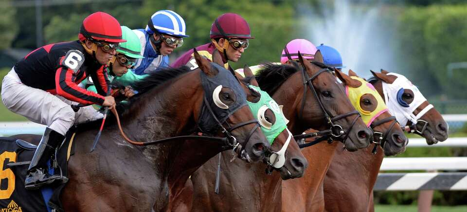 The field leaves the gate in unison during 2nd running of The Alydar Sunday afternoon at the Saratog