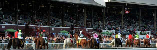 The field for the 40th running of the Sword Dancer heads to the gate Sunday afternoon at the Saratoga Race Course Aug. 17, 2014 in Saratoga Springs, N.Y.   (Skip Dickstein/Times Union) Photo: SKIP DICKSTEIN