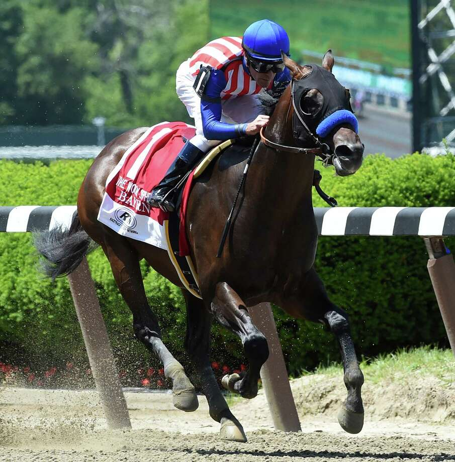 Bayern with jockey Gary Stevens wins the 30th running of The Woody Stephens at Belmont Park Saturday afternoon June 7, 2014 in Elmont, N.Y.  (Skip Dickstein/Times Union) Photo: SKIP DICKSTEIN