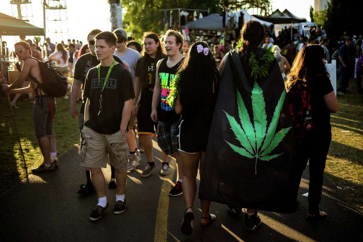 Festival attendees walk the grounds on the final day of Hempfest, Seattle's annual gathering to advocate the decriminalization of marijuana, photographed Sunday, August 17, 2014, at Myrtle Edwards Park on the Seattle waterfront in Seattle, Washington. The three-day annual event includes political rallies, concerts, and an arts and crafts fair.