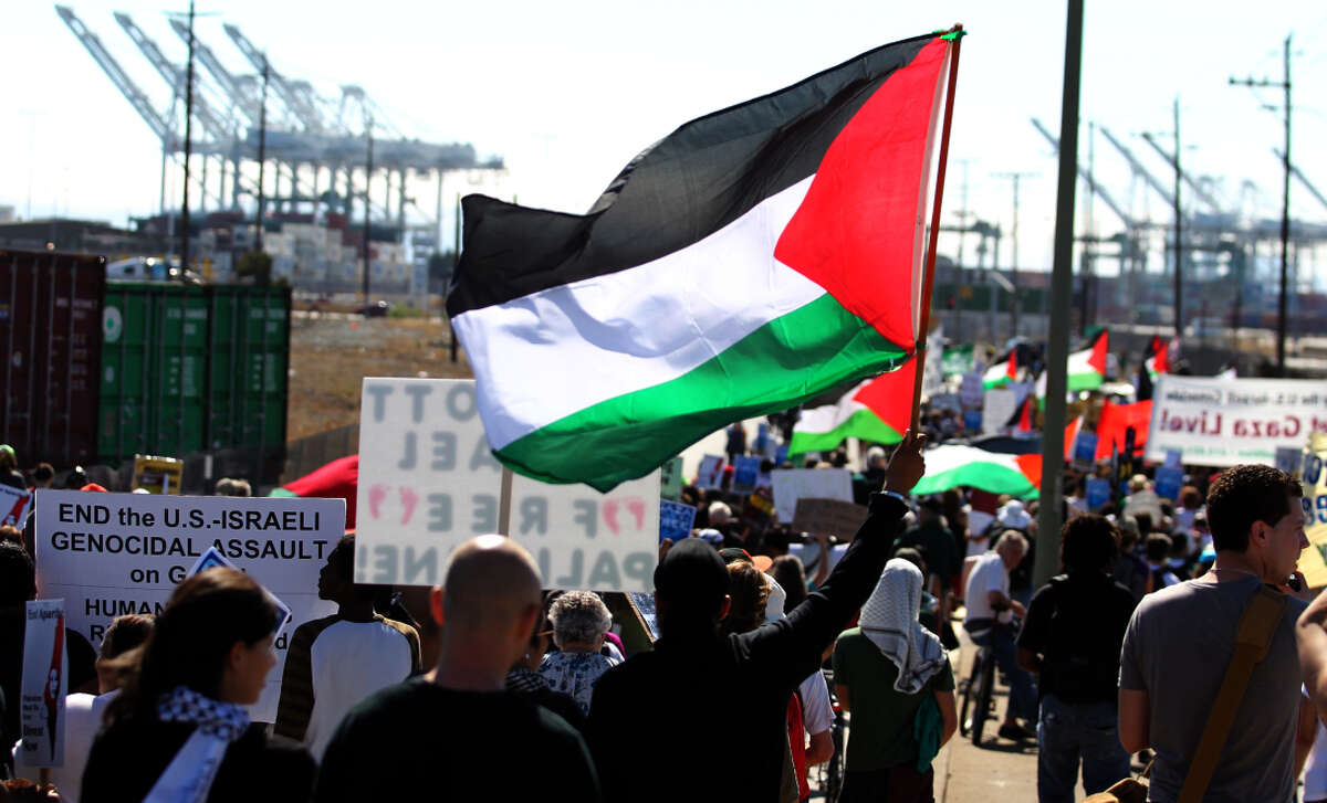 Demonstrators wave Palestinian flags and signs as they march to berth 57 at the Port of Oakland in Oakland, Calif., on Saturday, Aug. 16, 2014. Hundreds of people from across the Bay Area protested Israel's latest attack on Gaza and its ongoing occupation of Palestine.
