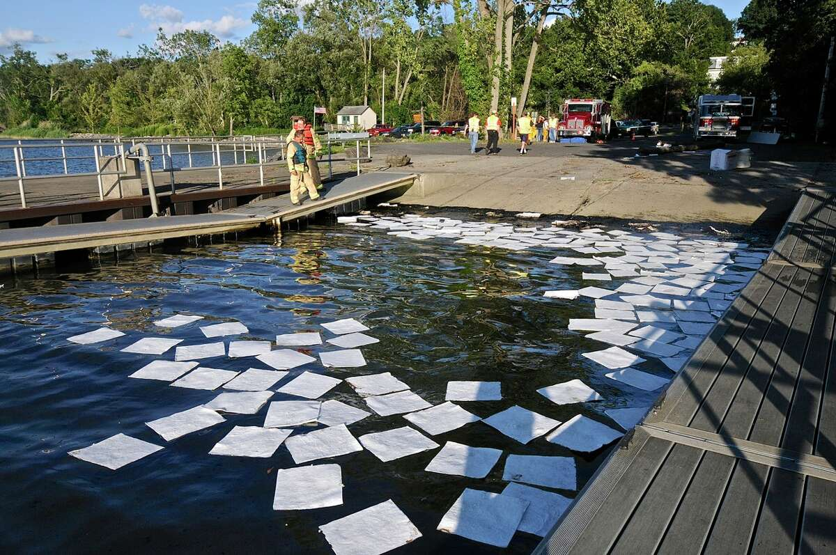 State and local officials in southern Columbia County are investigating an oil spill at Germantown's Boat Launch. Authorities discovered a 60-foot-pipe believed to be used by oil ships when they're unloading at ports. (Lance Wheeler / Special to the Times Union)