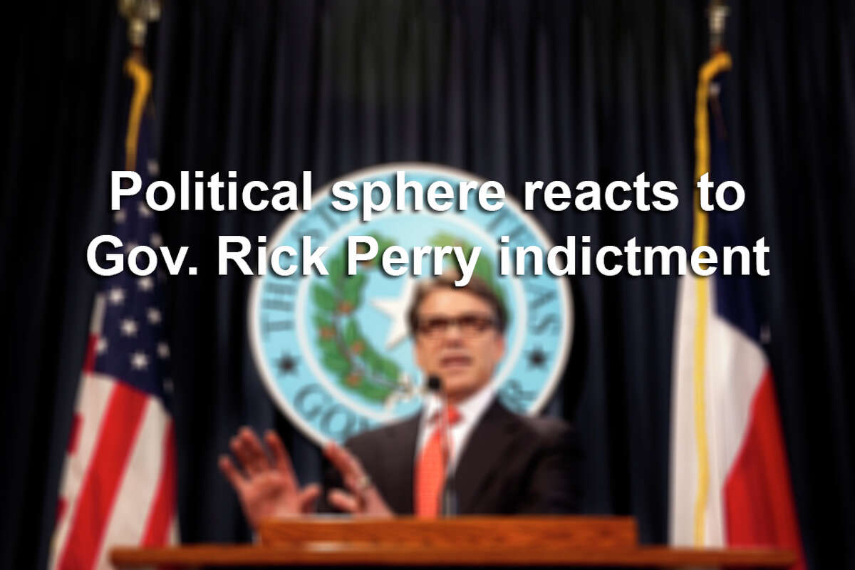 Gov. Rick Perry's indictment on two felony charges Friday set off a maelstrom of reactions from elected officials and political insiders. Scroll through the slideshow to see what Republicans and Democrats had to say about the charges.
