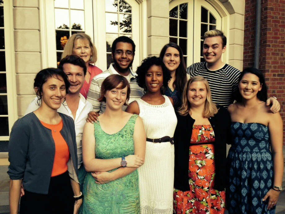 The interns at the Westport Country Playhouse were feted a special gathering at the home of Carol and Peter Seldin, of New Canaan. Top row from left, Carol Seldin, who is a member of the playhouse's board of trustees; Tajh Oates, Erin Focone and JT Murtagh; bottom row, Jinae Linek, Wade Jennings, Colleen Doyle, Allyson Mojica, Olyvia Brown and Veronica Lee. Photo: Contributed Photo, Contributed / New Canaan News Contributed