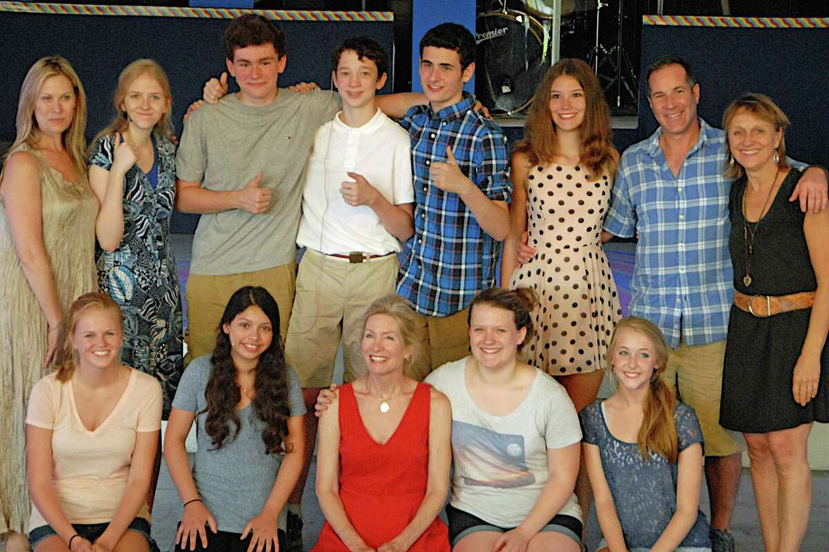 The Summer Theatre of New Canaan's pre-college theater workshop students and faculty included, front row from left, Claire Fraise, Maria Oliveira, actress and program director Anna Holbrook, Anneliese Keeton and Rose Staudt; back row, actress Jodi Stevens, Lindsey Mayotte, Jack Dahill, Joseph Turner, Ethan Riordan, Erin Bronner, choreographer Doug Shankman and STONC artistic director Melody Libonati.