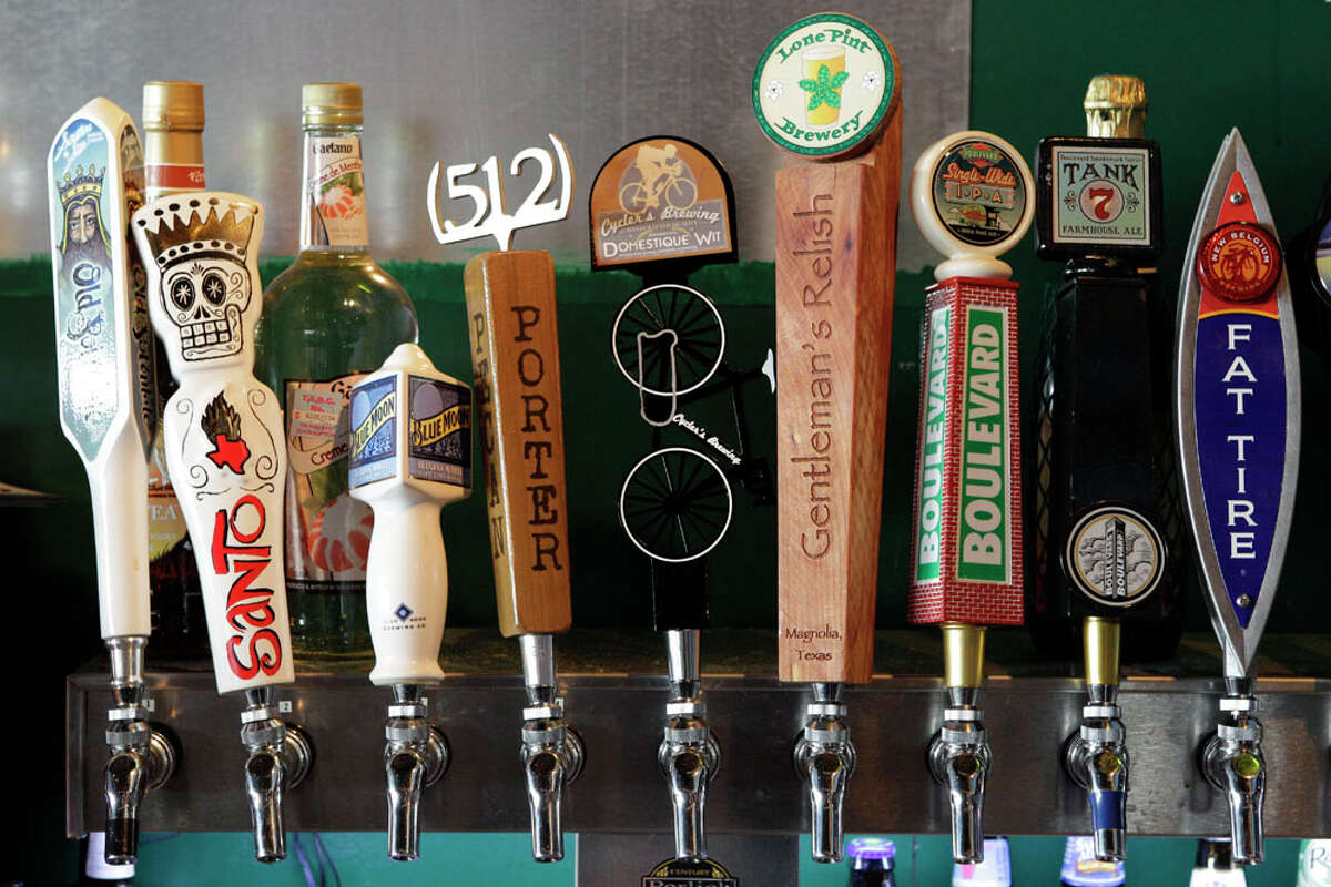 Beers on tap shown at Mellow Mushroom.