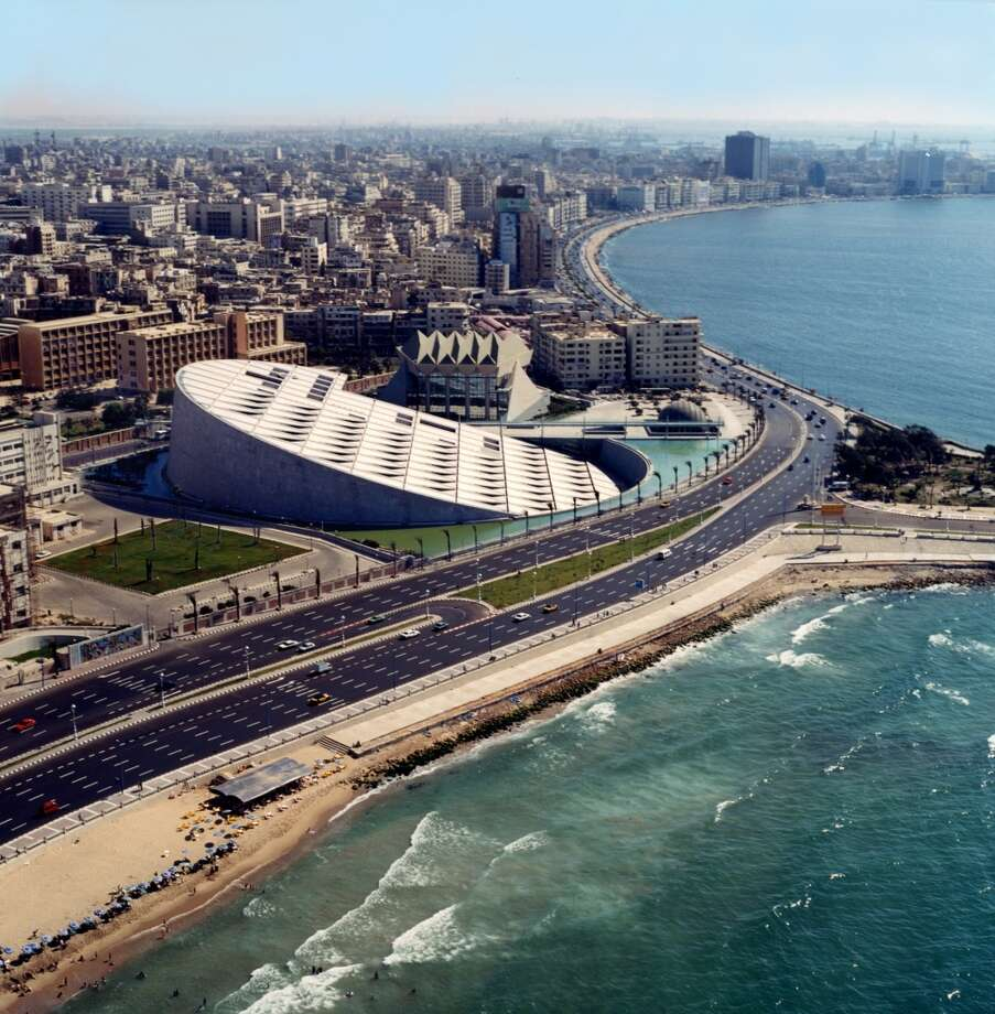 The enormous Bibliotheca Alexandrina in Alexandria, Egypt, was inaugurated in 2002 near the site of the original Library of Alexandria, built by the Greeks in the 3rd century BC. The building was designed by the Norwegian firm Snøhetta, which is handling the expansion of the San Francisco Museum of Modern Art. Photo: James Willis, Snøhetta