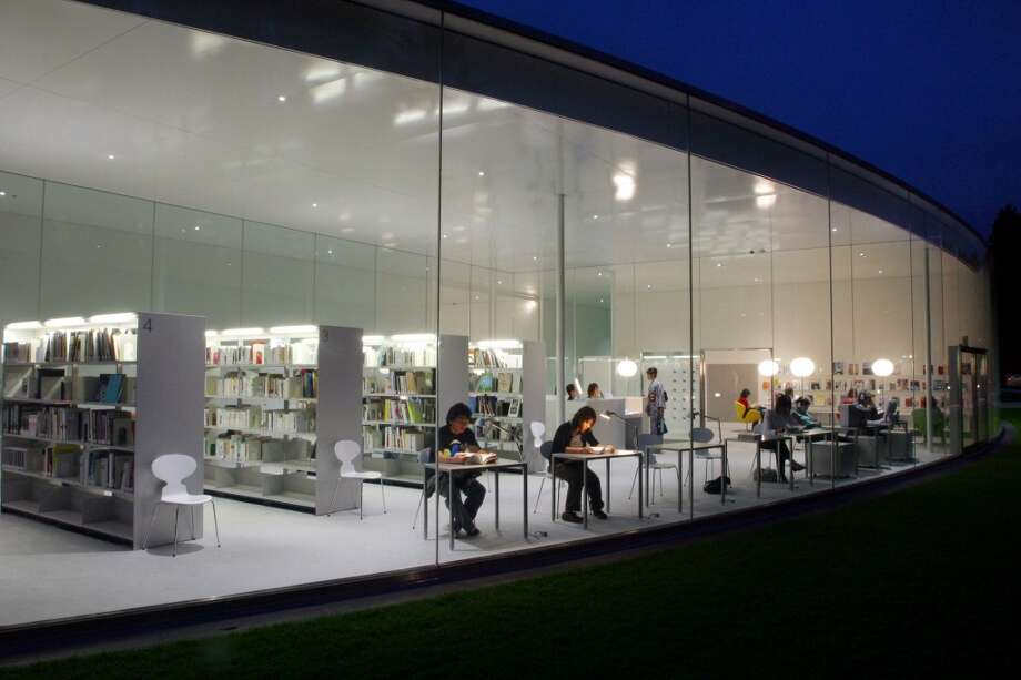 The circular library of the 21st Century Museum of Contemporary Art, Kanazawa, in Kanazawa, Ishikawa, Japan, opened in 2005. Photo: Junko Kimura, Getty Images