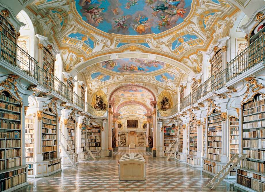 """The late Baroque library of the Admont Benedictine Monastery, in Austria, was completed in 1776. Its builder, Josef Hueber, said, """"As with the mind, light should also fill the room."""" Photo: Imagno, Getty Images"""