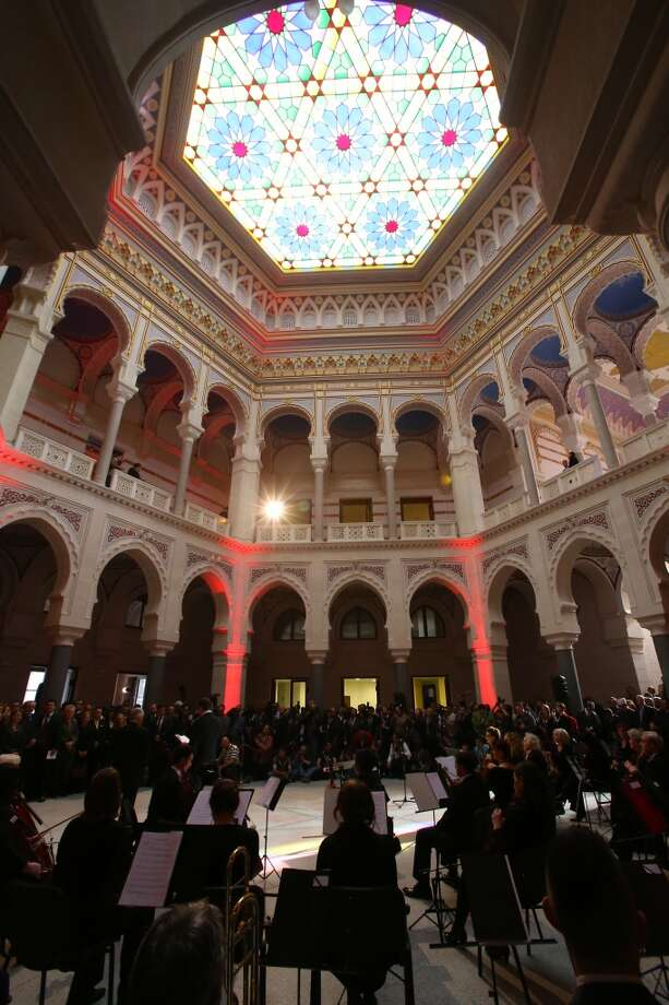 Sarajevo celebrated the reopening of Bosnia's reconstructed National Library in May. Photo: Anadolu Agency, Getty Images