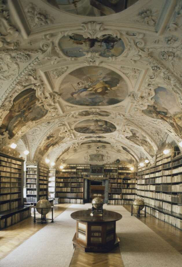 The Baroque hall of the National Library of the Czech Republic is located inside the old Jesuit College Clementinum in Prague. Photo: DEA / C. Sappa, De Agostini/Getty Images