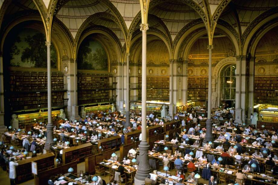 Designed in the mid-19th century by Henri Labrouste, the Sainte-Geneviève Library in Paris is famous for its early use of iron framing. The building inspired the design of the Boston Public Library. Photo: Pierre Barbier, Roger Viollet/Getty Images