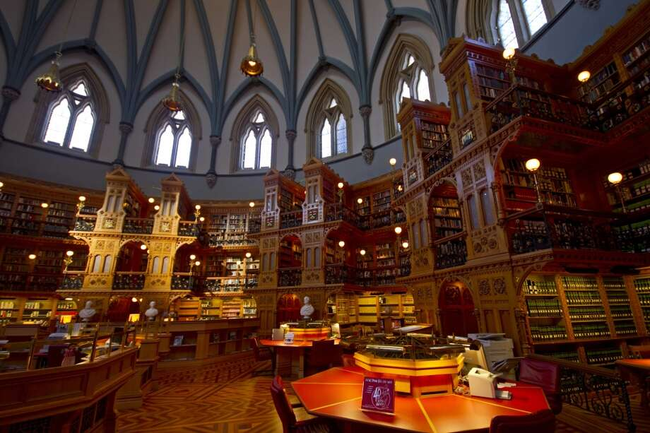The Library of Parliament, opened in 1876 in Ottawa, Canada, contains thousands of carvings of mythical beasts, masks and flowers. Photo: Matt Champlin, Getty Images/Flickr RM