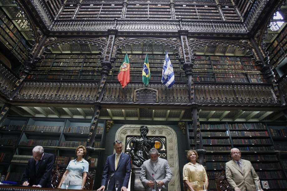 The Real Gabinete Portugues de Lectura, in Rio de Janeiro, is seen here in a 2008 ceremony marking the 200th anniversary of the arrival of Portugal's royal family in Brazil. Photo: Vanderlei Almeida, AFP/Getty Images