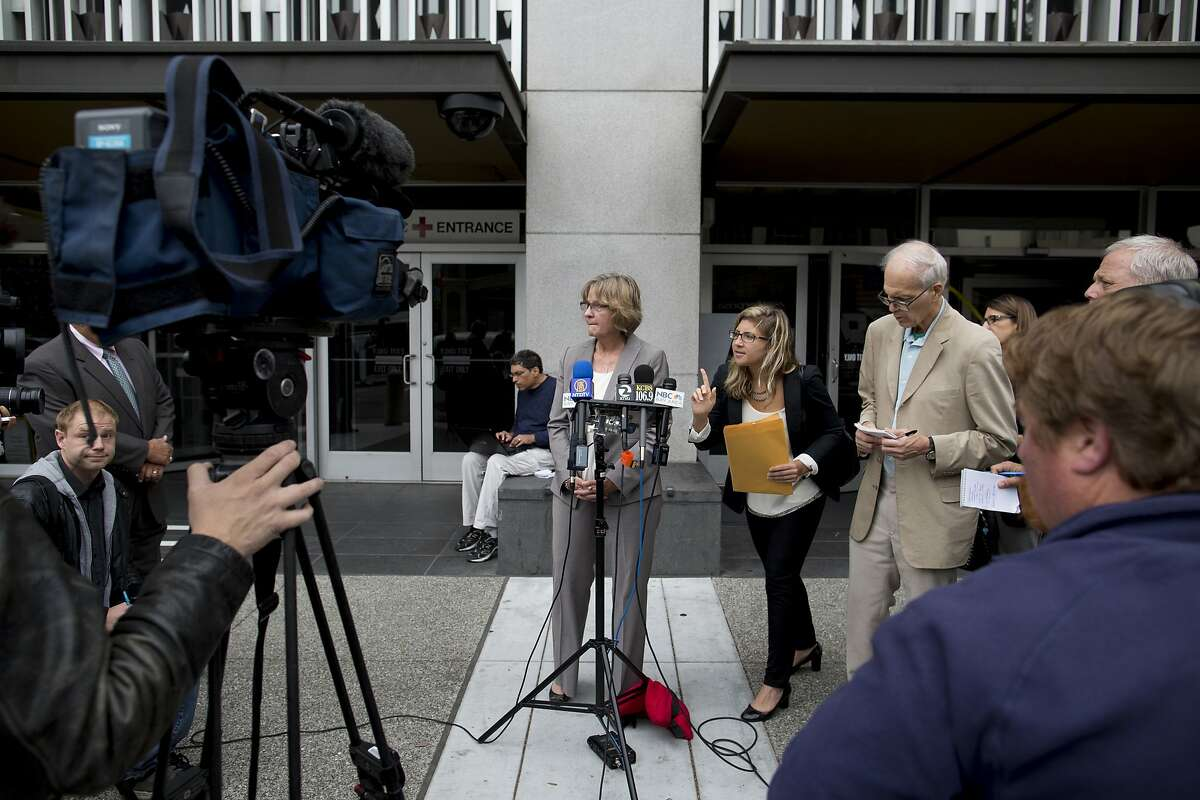 San Bruno City Manager Connie Jackson talks to the media about the PG&E case regarding an array of felony charges connected with a fatal natural gas explosion in San Bruno outside the federal courthouse in San Francisco, Calif. on Monday, August 18, 2014. PG&E pleaded not guilty.