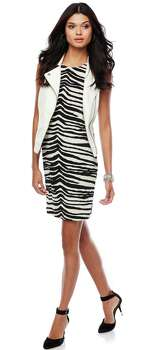Back to school style is all aobut having fun as in this Jennifer Lopez brand look of a zebra  print dress worn with an oversized vest from Kohl's. Photo: Courtesy Photo, Kohl's / San Antonio Express-News