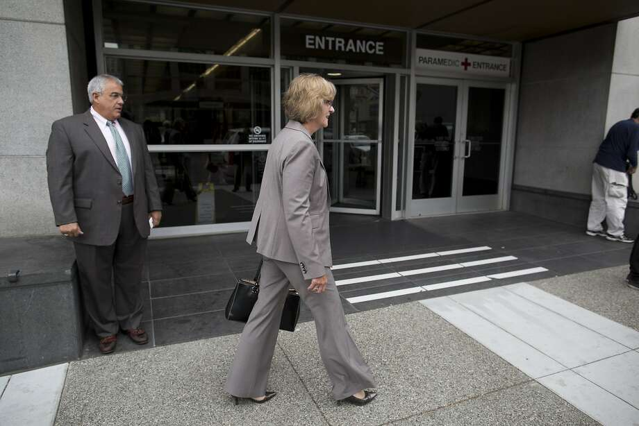 San Bruno City Manager Connie Jackson and senior adviser Craig Bettencourt leave the federal courthouse in San Francisco. Photo: Tim Hussin, Special To The Chronicle