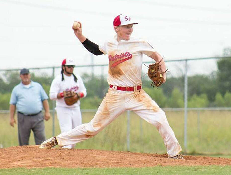 San Antonio Patriots pitcher Liam Miller, from Steele High School, comes home with a pitch during July's American Legion district tournament. Photo: Courtesy Photo
