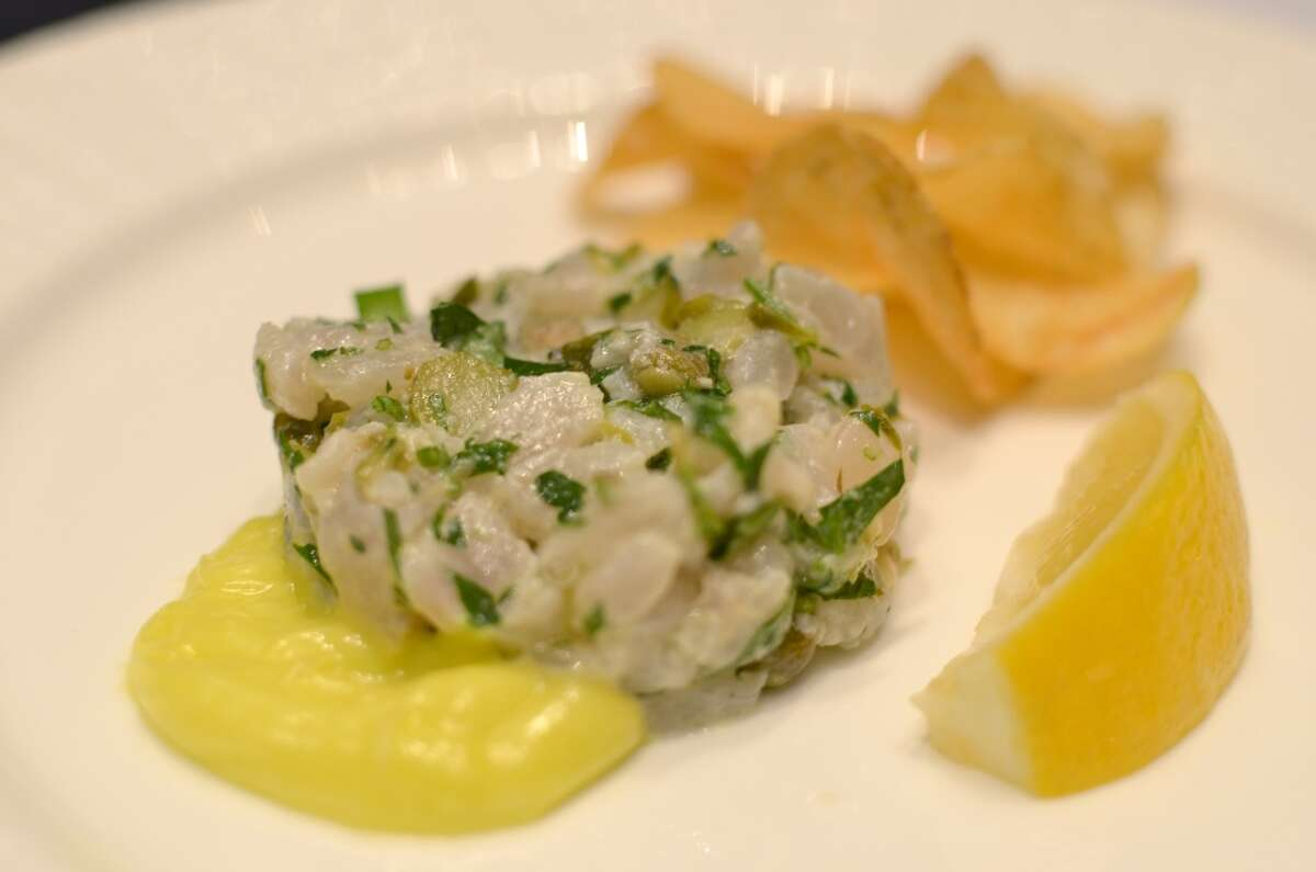 Fish and Chips Tartare (raw Gulf Wahoo with capers, cornichons, parsley, lemon and aioli with house chips), a preview of chef Richard Knight's dinner at the new Kipper Club Test Kitchen in September. (Photo: Treadsack)